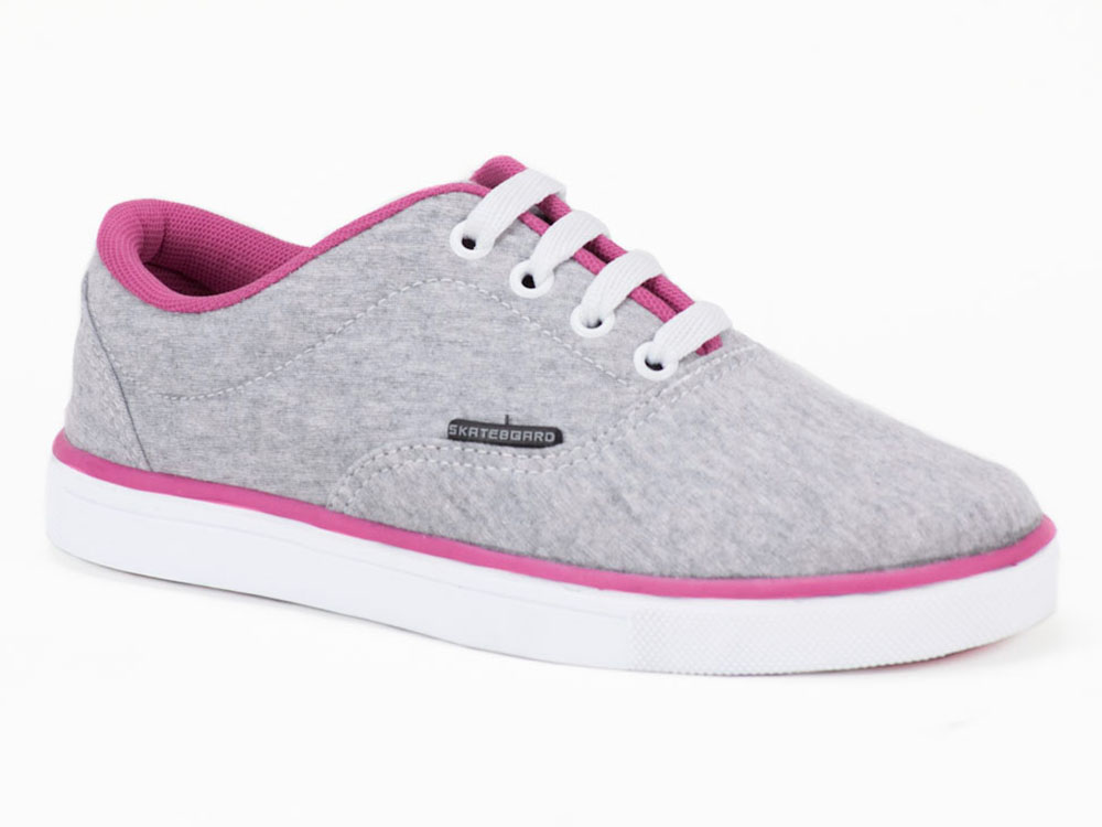 Tenis Ferma Skate E751 Prata Branco Rosa Lojas Adélia 1617be365ae