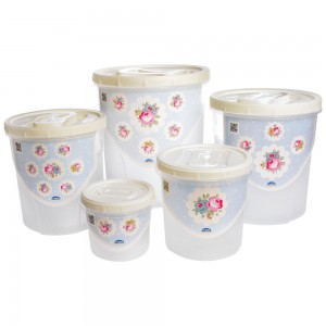 Imagem do produto - Conjunto de Potes para Mantimentos - 5 Unidades | Floral Provençal - Rosca