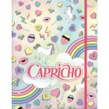 Caderno Argolado Universitário Cartonado com Elástico Capricho - 80 Folhas