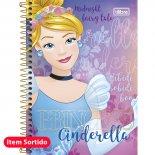 Caderno Espiral Capa Dura 1/4 Princesas - 96 Folhas (Pacote com 5 unidades)