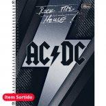 Caderno Espiral Capa Dura Universitário 10 Matérias AC/DC - 200 Folhas - Sortido (Pacote com 4 unidades)