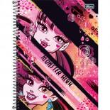 Caderno Espiral Capa Dura Universitário 10 Matérias Monster High - 200 Folhas (Pacote com 4 unidades)