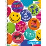 Caderno Espiral Capa Dura Universitário 10 Matérias Unicef - 200 Folhas