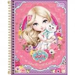 Caderno Espiral Capa Dura Colegial 8 Matérias Jolie - 160 Folhas