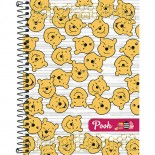 Caderno Espiral Capa Dura Colegial 8 Matérias Pooh - 160 Folhas