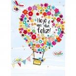 Cartão Handmade Beauty Aniversário Estampa Balão de Flores- Grafon's