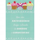 Cartão Handmade Beauty Aniversário Estampa Cupcake - Grafon's