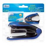 Conjunto Grampeador 20 Folhas de Mesa + Extrator + Grampos CJ01 Azul