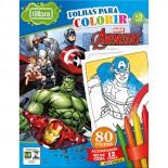 Folhas para Colorir com Giz de Cera Mini Avengers