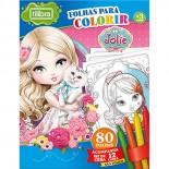 Folhas para Colorir com Giz de Cera Mini Jolie