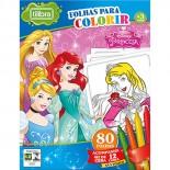 Folhas para Colorir com Giz de Cera Mini Princesas