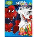 Folhas para Colorir Pequena Spider-Man com Giz de Cera