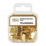 Prendedor de Papel 19mm Dourado 12 Unidades