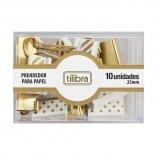 Prendedor de Papel 25mm Dourado, Listras e Bolinhas 10 Unidades