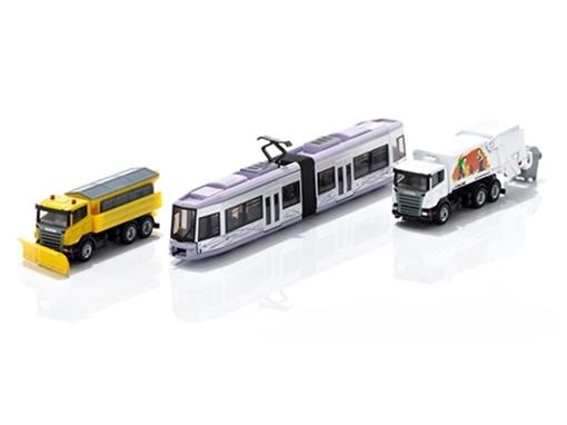 Set Municipal: Trem urbano, caminhão de lixo e de neve - HO