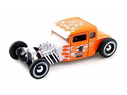 Ford: Model A (1929) - Harley Davidson - Branco/Laranja - 1:24