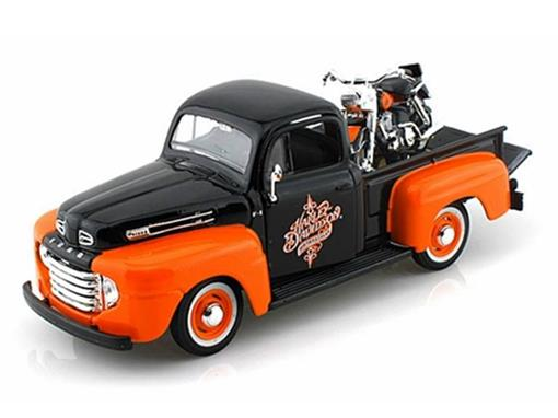 Ford: F-1 Pickup (1948) - 1:24 c/ Moto FLH Duo Glide (1958) 1:24 - Maisto