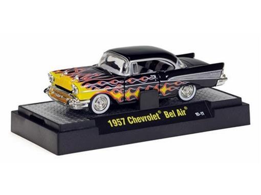 Chevrolet: Bel Air (1957) - Preto/Flames - Auto Dreams - 1:64 - M2 Machines