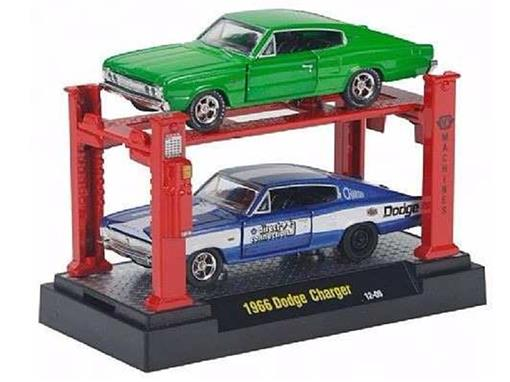 Set Dodge Charger (1966) - Verde/Azul - Auto Lift - 1:64