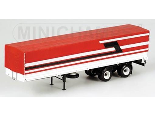 Semi-Reboque de Caminhão Lona - Vermelho/Branco - 1:43