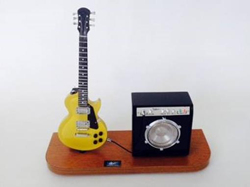 Set: Miniatura Guitarra Les Paul + Amplificador - Dourada - 1:4