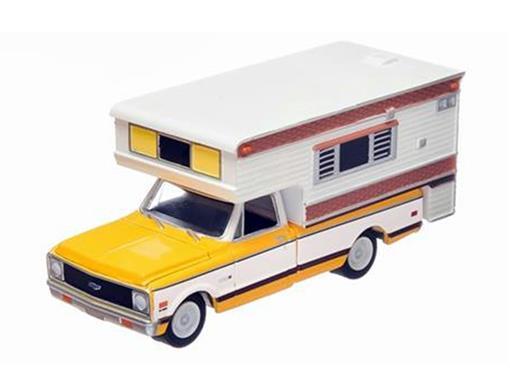 Chevrolet: C20 Cheyenne (1972) c/ Camper - Amarelo - 1:64