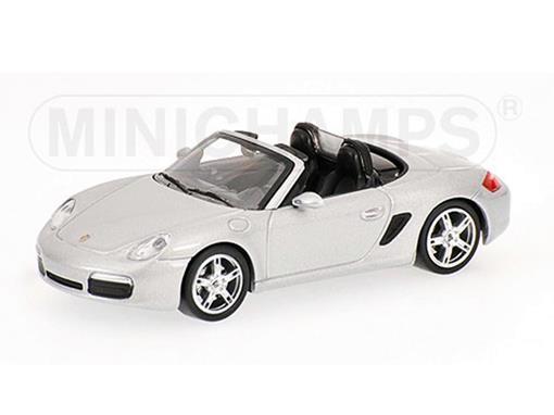 Porsche: Boxster Conversível (2005) - Prata - 1:64 - Minichamps