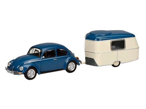 Volkswagen: 1200 Kafer / Fusca c/ Trailer - Azul - 1:43