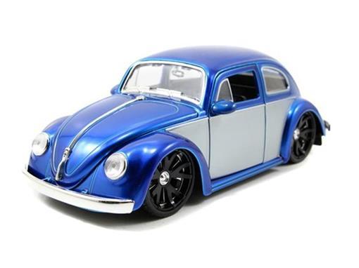 Volkswagen: Beetle Fusca (1959) - Azul / Prata - Bigtime Kustoms - 1:24