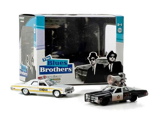Diorama: Dodge Monaco Bluesmobile w/Horn (1974) / Royal Monaco Illinois State Police (1977) - The Blues Brothers - 1:64