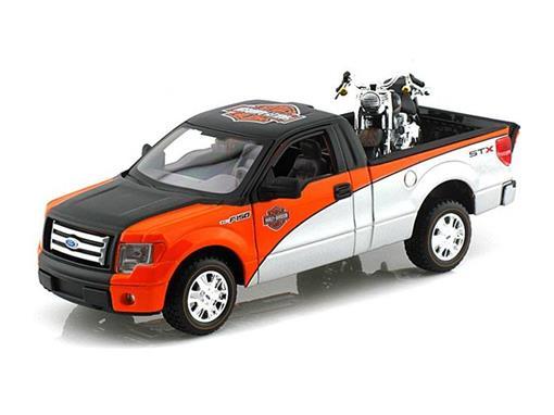 Ford: F-150 STX (2010) Laranja / Preto / Prata - 1:27 c/ Moto FLSTF Fat Boy (2000) -1:24 - Maisto