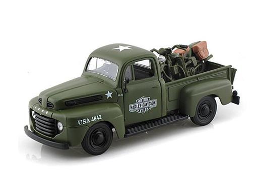 Ford: F-1 Pickup (1948) - 1:24 c/ WLA Flathead Army (1942) Verde - 1:24