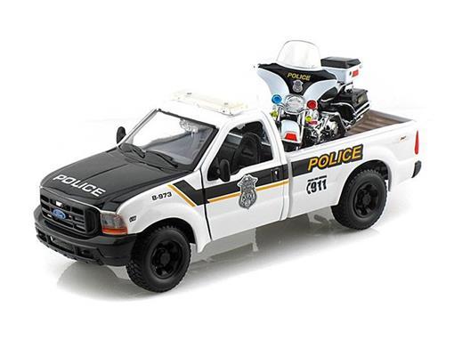Ford: F-350 Super Duty Pickup Police (1999) - 1:27 c/Moto FLHTPI Electra Glide Police (2004) - 1:24 - Maisto