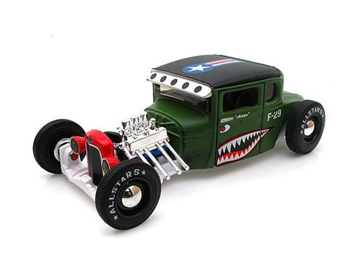 Ford: Model A Hot Rod (1929) Hot Rod Army - Verde - All Stars - 1:24