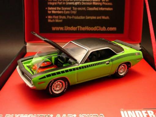 Plymouth: AAR Cuda (1970) - Verde e Preto - Under The Hood - 1:64