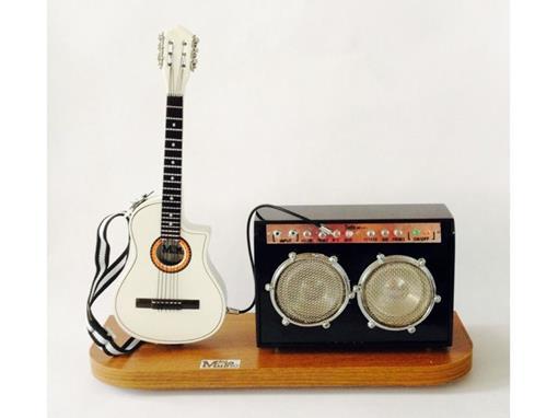 Set: Miniatura de Violão Elétrico + Amplificador Médio (Branco) - 1:4