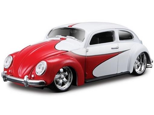 Volkswagen: Beetle (Fusca) Hardtop - Branco/Vermelho - 1:24