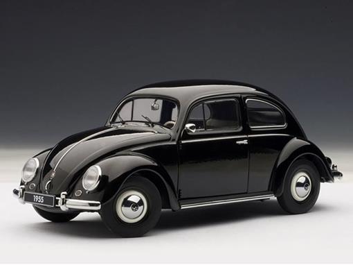 Volkswagen: Beetle (Fusca) 1200 Limousine (1955) - Preto - 1:18