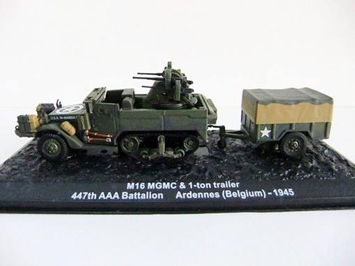 Caminhão: M16 MGMC & 1-ton Trailer - 447th AAA AW Battalion - Ardennes (Belgium) 1945 - 1:72