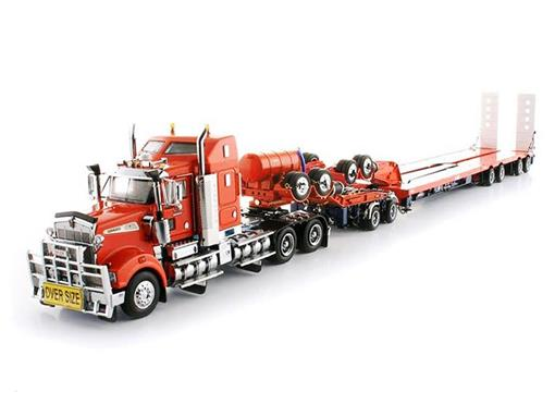 Kenworth: T908 Prime Mover with Drake 2 x 8 Dolly and 4 x 8 Swingwing - Laranja - 1:50