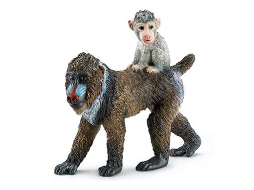 Macaco Mandril Fêmea com Filhote - Schleich