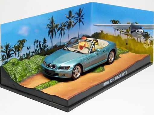 Diorama: BMW Z3 Conversível - James Bond - 007 Goldeneye - Azul - 1:43