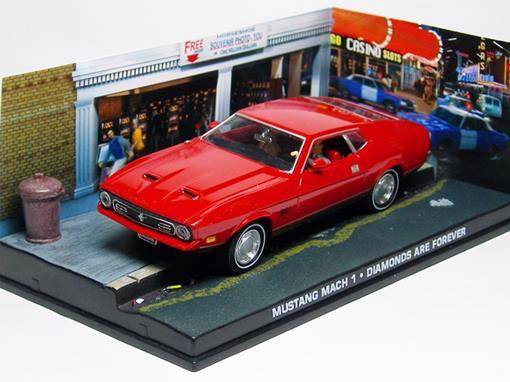 Diorama: Ford Mustang Mach 1 - James Bond - 007 Diamonds Are Forever (007 - Os Diamantes São Eternos) - Vermelho - 1:43