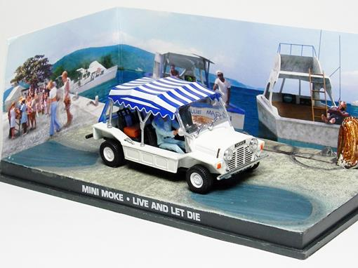 Diorama: Mini Moke - James Bond - 007 Live And Let Die (007 - Viva e Deixe Morrer) - Branco - 1:43