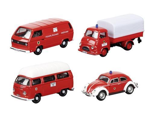 Set: Bombeiros - Volkswagen Kafer / Volkswagen T2a Bus / Volkswagen T3b Van / Hanomag Kurier - HO