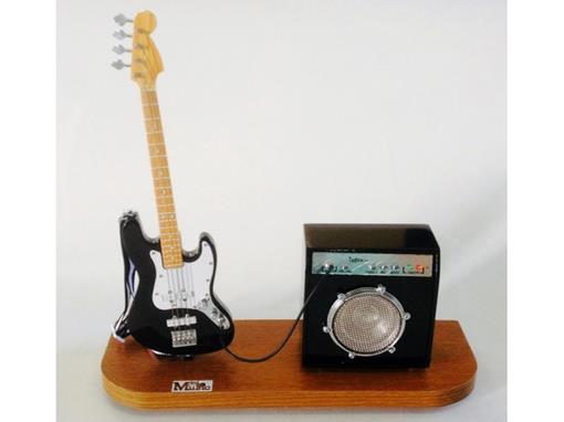 Set: Miniatura de Baixo Elétrico Jass Bass Preto + Amplificador Pequeno - 1:4