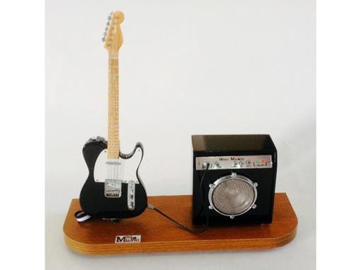 Set: Miniatura de Guitarra Telecaster + Amplificador (Preta) - 1:4
