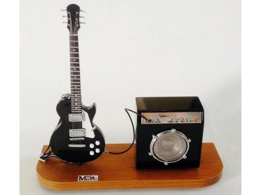 Set: Miniatura de Guitarra Les Paul + Amplificador (Preta) - 1:4