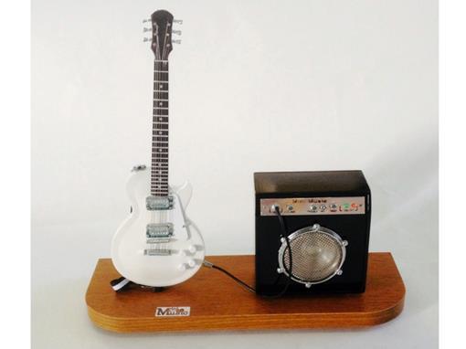 Set: Miniatura de Guitarra Les Paul + Amplificador (Branca) - 1:4