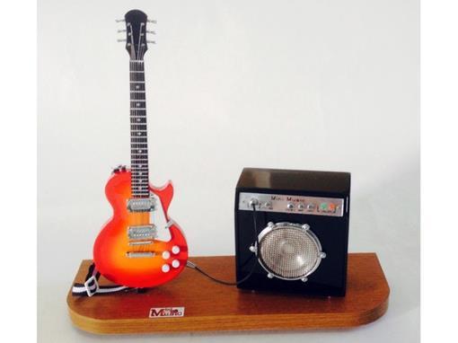 Set: Miniatura de Guitarra Les Paul + Amplificador (Cereja) - 1:4